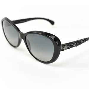 CHANEL: Black, Tweed & CC Polarized Sunglasses dj
